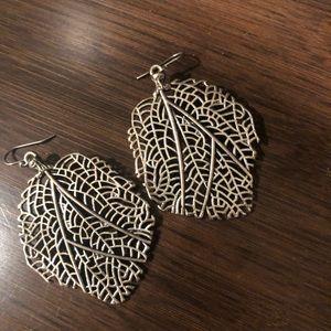 Lucky Brand Sterling Silver Drop Leaf Earrings